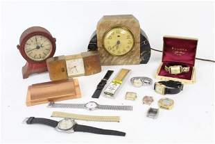 Lot of Misc Antique Clocks Watches Watch Boxes Timers