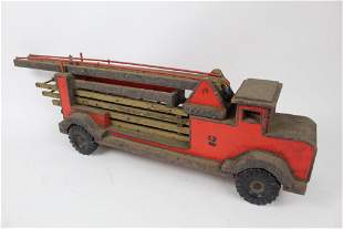 Antique Folk Art Handmade Firetruck,Ladder Truck Toy