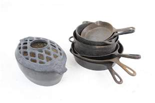 Antique Cast Iron Skillets & Humidifier Lot Gate Mark