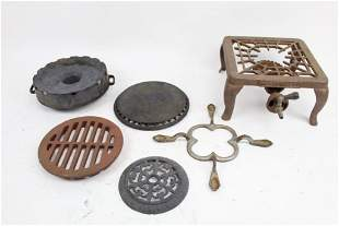 Lot of 6 Varied Cast Iron Hot Plate Grill, Griswold