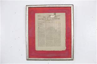 Antique Framed 1806 Columbia Repository Newspaper Page