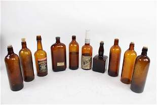 Lot of 10 Assorted Antique Brown Whiskey Liquor Bottles