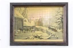 Antique Framed Currier  Ives Print Winter Morning