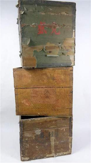 Lot of 3 Antique Wooden Japanese Tea Crates with Labels