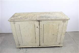 Early 19th Cent Antique Low 2-Door Cupboard,White Paint