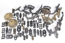 Huge Lot of Cast Iron Oil Lamp Wall Brackets & Arms