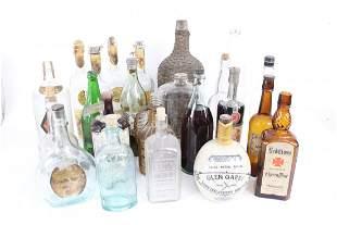 Lot of 28 Antique Glass Liquor Bottles,Whiskey,Pre-Pro
