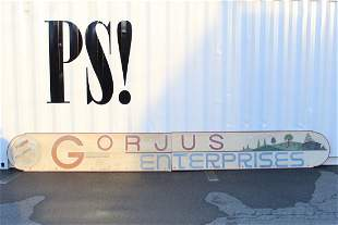 Huge Vintage Gorjus Sign,Carpenter Woodwork,Hudson,NY