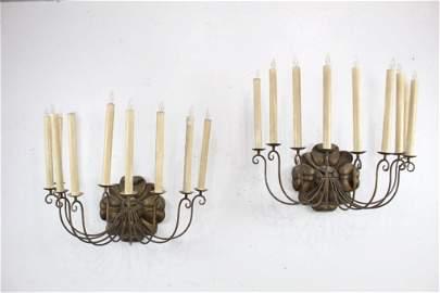Pair of Giant Antique Metal Sconces Elec Candle Lights