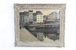 City Pier Waterfront Painting, Signed Sam Ostrowsky