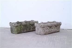 Pair Concrete Long Rectangular Ornate Gothic Planters
