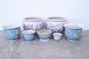 7 Asian Ceramic Planters with Flower & Bird Designs