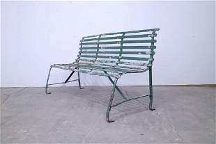 Slatted Metal Railroad Station Bench,Industrial 2of2