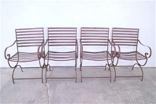 Set of 4 Metal Outdoor Garden Arm Chairs,Wrought Iron