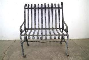 Industrial Wrought Iron Black Painted Patio Park Bench