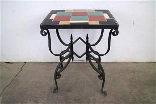 Industrial Deco California Tile Top Table, Wrought Iron