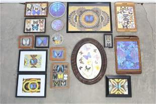 Large Collection Butterfly Art,Framed,Trays,Etc