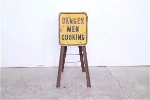 """Danger Men Cooking"" Metal Sign Folding Table/Stand"