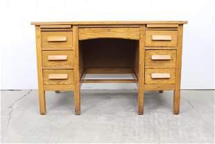 Antique Sturdy Oak Student's Desk w/Drawers