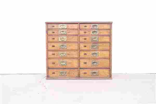Antique 14 Drawer Cabinet w/Numbered Catalog Plaques