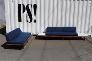 Pair of Huge Blue Platform Sofas,Adrian Pearsall