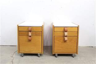 Pair of Modern End Tables w/ Leather Drawer Pulls