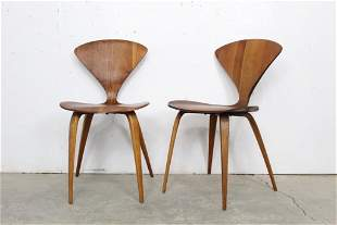 Pair Mid-Century Modern Norman Cherner Bentwood Chairs