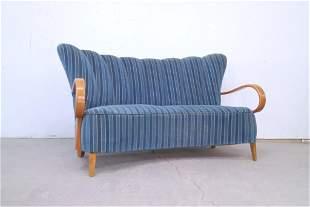 Mid Century Danish Modern Wingback Blue Stripe Sofa