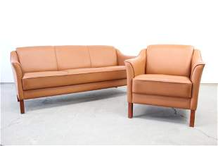 Danish Mid Century Modern Brown Leather Sofa & Chair