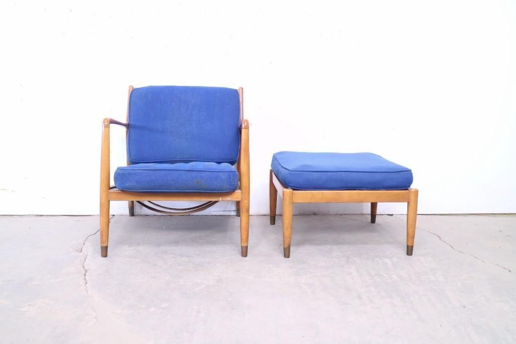 Mid Century Modern Blue Armchair w/Ottoman,Danish