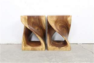 Pair Mid Century Modern Carved Twisted Wood Stool Table