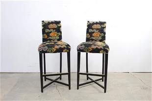 Modern Pair Colorful Upholstered Barstools by Donghia
