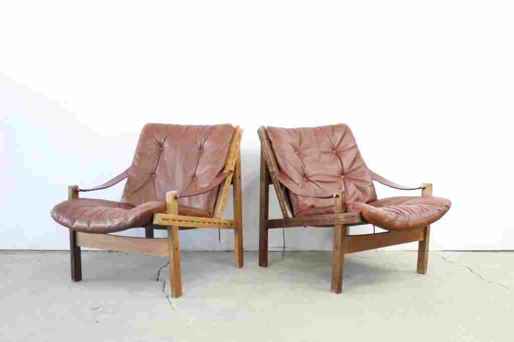 Pair of Danish Mid Century Modern Safari Chairs,Leather