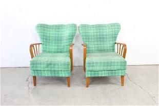 Pair Green Plaid Mid Century Modern Wingback Chairs