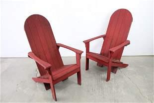 Bauhaus Style Pair of Red Adirondack Lounge Chairs