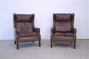 Mid Century Modern Pair of Leather Wingback Chairs