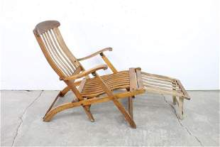 Folding Chaise Lounge Deck Chair,Natural Wood