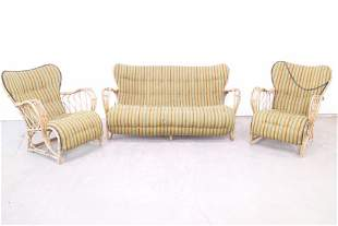 Set of Bamboo Rattan Lounge Chairs & Settee,Wingback