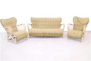Set of Bamboo Rattan Lounge Chairs & Settee,Wingback