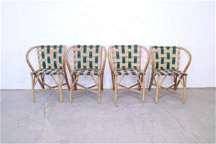 Mid Century Modern Set of 4 Bamboo Chairs,Green Webbing