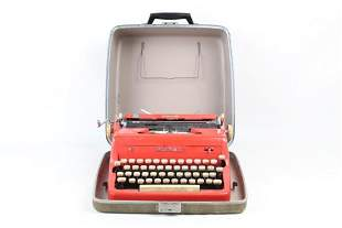 "Bright Red Royal Typewriter in Case ""Quiet De Luxe"""