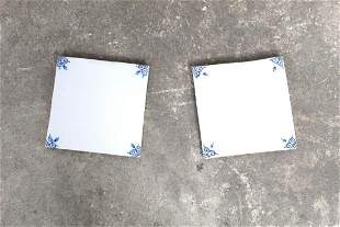Set of 50 Unused Hand-painted White & Blue Square Tiles