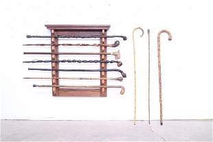 Collection of 10 Canes & Rack,Folk Art