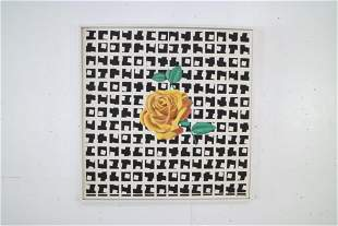 Painting of Rose B&W Op Art Pattern,Elise Speights