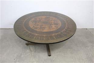 Mid Century Round Wood & Copper Egyptian Style Table
