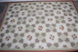 Mid Century Modern Large Wool Patterned Rug Floral