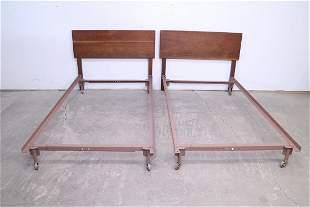 Pair of Danish Modern Twin Beds, Walnut Headboards