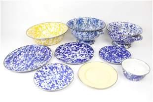 8 Pieces Enamelware,Blue Speckle Colanders,Plates,Bowl