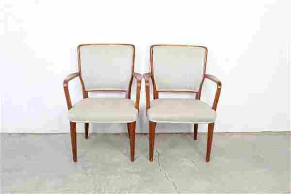 Mid Century Modern Danish Upholstered Wood Arm Chairs