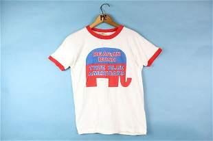 White S Reagan Bush Pres Election Vintage T-Shirt 1980
